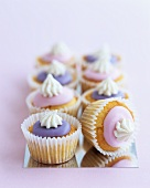 Muffins with coloured icing