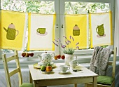 Home-made curtains at kitchen window