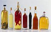Various home-made vinegars in bottles