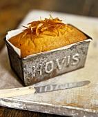 Orange cake in a loaf tin
