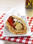 Souvlaki in a pita bread (Greece)
