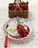 Lime rice pudding with cherry compote