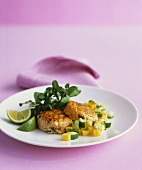 Salmon cakes with mango salsa and watercress salad