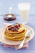 Buttermilk pancakes with cherry jam