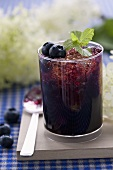 Blueberry syrup with crushed ice