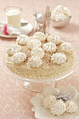 Meringue tart with coffee and mascarpone cream for Christmas