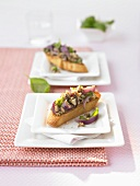Bruschetta with mushrooms and onions