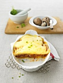 Lasagne with potatoes, minced meat and mushrooms