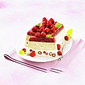 Terrine with forest fruits and pistachios