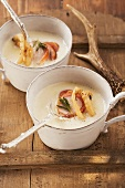 White onion soup with coffee and pheasant breast
