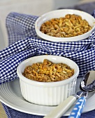 Apple crumbles with slivered almonds