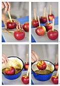 Toffee apples being made