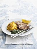 Pork chop with sage and pumpkin puree