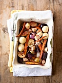 Roasted root vegetables with honey, thyme and caraway