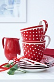 A stack of polka dot cups