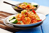 Rice with prawns, peppers, chilli and coriander, Peru