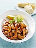 Garlic prawns with dill and lemon
