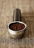Ground coffee in filter holder
