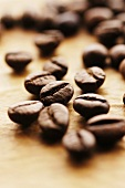 Coffee beans on brown paper