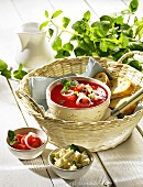 Watermelon soup with feta and mint