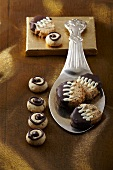 Biscuits with chocolate decorations (Christmas)