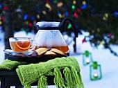 Blood orange tea on garden table (Christmas)