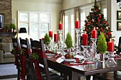 Dining table with Christmas decorations