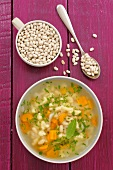White bean soup with spaetzle noodles
