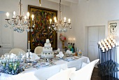 Wedding cake on laid table