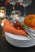 Pile of plates with napkin, cutlery, rose hips and pumpkin