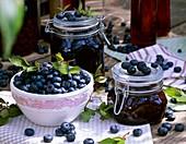 Bottled and fresh blueberries