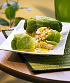 Savoy cabbage leaves stuffed with prawns