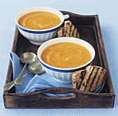 Cream of pumpkin soup with grilled bread