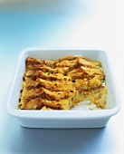 Savoury bread and butter pudding with crabmeat and saffron
