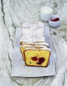 Sour cream olive oil cake with raspberries