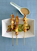 Chicken satay on cucumber salad