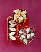 Nougat hearts, Wickelkind biscuits (yeast biscuits filled with vanilla buttercream) and calissons d'Aix (almond confectionary)