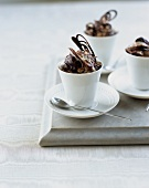 Chocolate ice cream sundaes