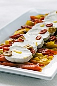 Roasted peppers with goats' cheese