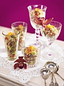 Oriental rice salad with pistachios and mint