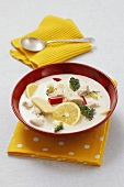 Lemon chicken soup with coconut milk