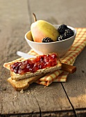 Blackberry and pear jam on toast