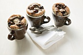 Chocolate cherry puddings in cups (Amarena cherries)