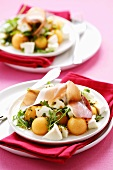 Melon & mozzarella salad with rocket, ham & mustard dressing