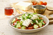 Bulgarian salad of pepper, tomato, cucumber, onion and feta