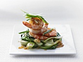 Tom Rim (Caramelised prawns on pak choi, Vietnam)