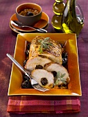 Roast pork stuffed with prunes