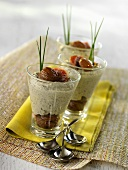 Lentil mousseline with sweet chestnuts in three glasses