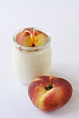 Natural yoghurt with vineyard peaches
