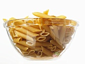 Penne in a glass bowl